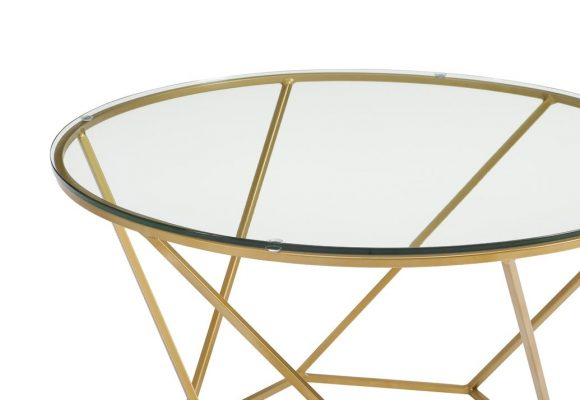 Aman Geometric Glass 2 Piece Coffee Table Set